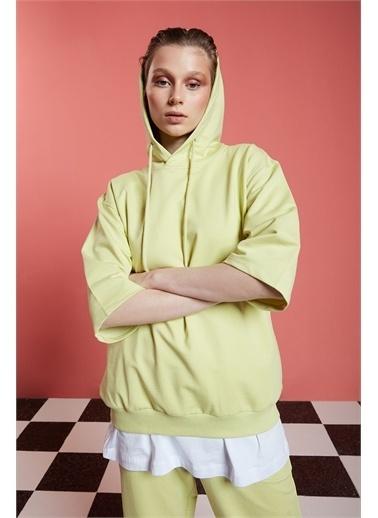 Mizalle Basic Kısa Kollu Açık Yeşil Sweatshirt Yeşil